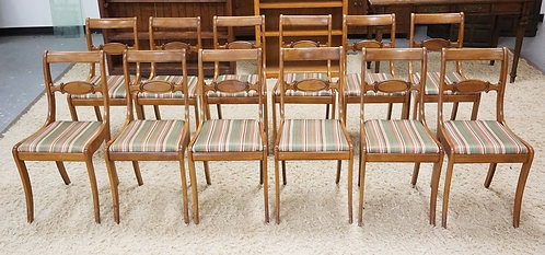 SET OF 12 TELL CITY SABRE LEG CHAIRS WITH UPHOLSTERED SEATS.