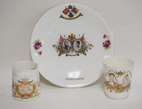 GROUP OF 3 CORONATION PIECES. AN 1863 ENAMEL DECORATED MUG (HAS A HAIRLINE). AN