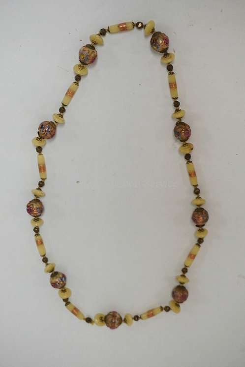 BEADED TRIBAL NECKLACE WITH DECORATED BEADS. 13 1/4 INCHES LONG.