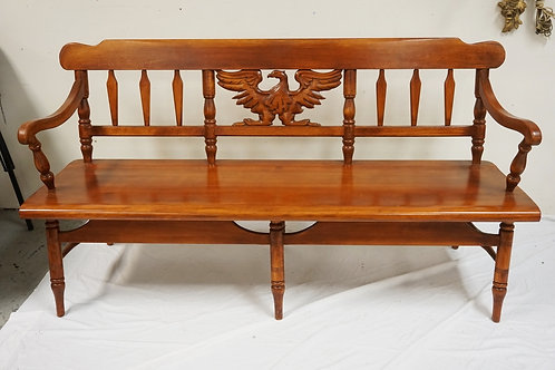 CUSHMAN DEACONS BENCH W/ CARVED AMERICAN EAGLE. 62 1/2 IN WIDE