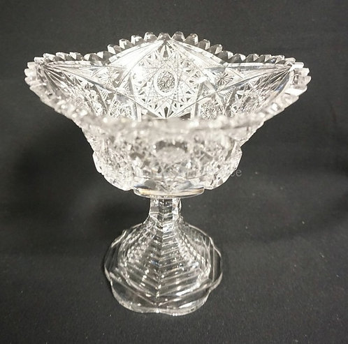 AMERICAN BRILLIANT CUT GLASS COMPOTE WITH STEP BASE. 6 1/4 IN H, MINOR RIM ROUGH