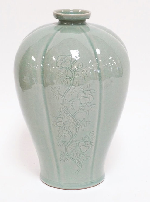 YU KEON-HYUNG KOREAN CELADON PLUM BLOSSOM VASE WITH A MELON RIBBED BODY AND DECO