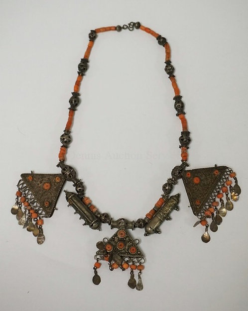NORTH AFRICAN TRIBAL NECKLACE DECORATED WITH CORAL BEADS. APPROX 12 INCHES LONG.