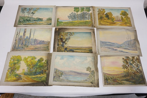 9 PIECE LOT OF SCENIC OIL PAINTINGS ON CAVAS. UNSIGNED. LARGEST IS 12 X 9 INCHES