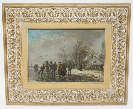 ANTIQUE OIL PAINTING ON CANVAS OF A CONTINENTAL WINTER SCENE CONSISTING OF PEOPL