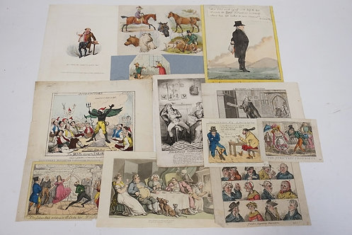 LOT OF 12 ETCHINGS INCLUDING HAND COLORED, FRENCH, AND SATYRICAL. LARGEST IS 7 X
