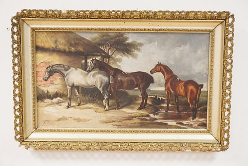 ANTIQUE OIL PAINTING ON CANVAS OF 3 HORSES BY A HUT. SIGNED LOWER LEFT *G. ROTH