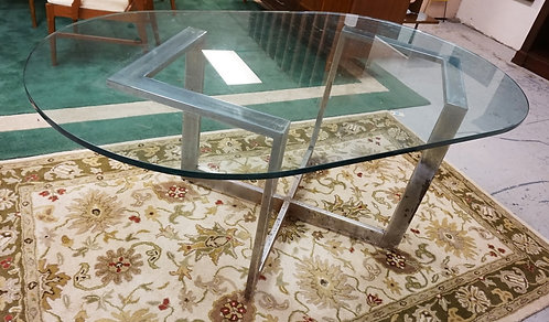 MID CENTURY MODERN CHROME & GLASS DINING TABLE. 42 X 72 INCH TOP. HAS WEAR AND R