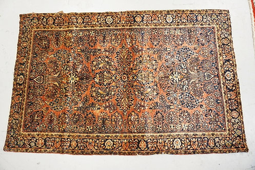 1003_HAND WOVEN ORIENTAL RUG MEASURING 6 FT 6 X 4 FT 3 INCHES. HAS WEAR.