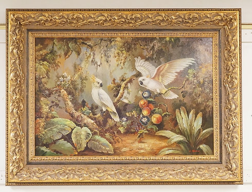 OIL PAINTING ON CANVAS OF COCKATOOS IN FRUIT BEARING TREES. SIGNED LOWER RIGHT.