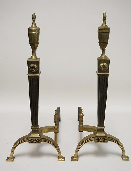 PAIR OF BRASS ANDIRONS WITH FLUTED SQUARE COLUMNSAND URN FINIALS. 24 3/4 INCHES