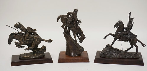 GROUP OF 3 FRANKLIN MINT BRONZE SCULPTURE OF NATIVE AMERICAN INDIANS. TALLEST IS