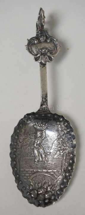 SILVER *MONKEY* SPOON WITH HANAU TOUCHMARKS AND ENGLISH IMPORT HALLMARKS. .88 TR