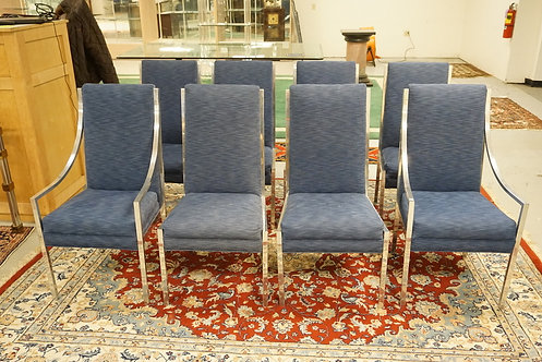 SET OF 8 MID CENTURY MODERN CHROMED DINING CHAIRS IN THE MANNER OF MILO BAUGHMAN