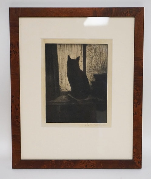 CHRISTOPHER RICHARD WYNNE NEVINSON ORIGINAL ETCHING OF A CAT. PENCIL SIGNED. 6 1