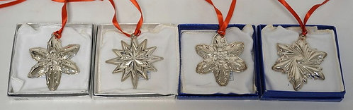 LOT OF 4 LUNT STERLING SILVER CHRISTMAS ORNAMENTS. 2.3 TROY OZ. EACH WITH ORIGIN