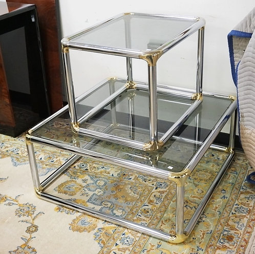 PAIR OF CHOME TABLES WITH SMOKE GLASS TOPS.
