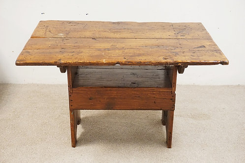 ANTIQUE PINE HUTCH TABLE. SQUARE NAILS. 33 1/2 X 49 1/4 ICH TOP. 29 1/2 INCHES H