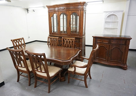 9 PIECE CHRIS MADDEN DINING ROOM SET. TABLE WITH 6 CHAIRS AND 2 LEAVES, CHINA CA