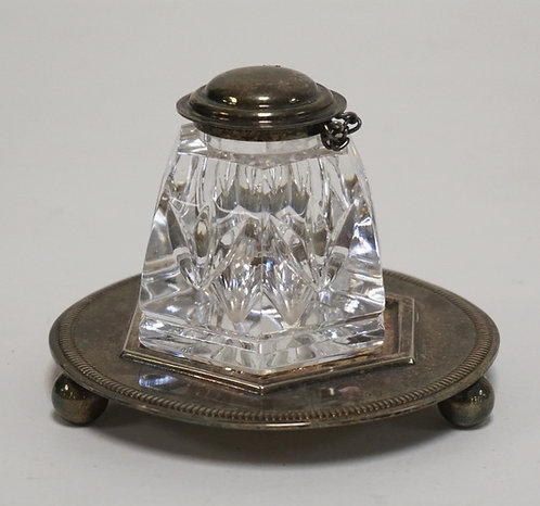 1246_WATERFORD CRYSTAL INKWELL WITH SILVER PLATED STAND. 2 3/4 INCHES HIGH.