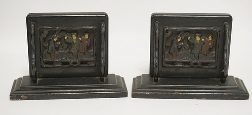ASIAN BLACK LACQUERED WOODEN BOOKENDS. 9 INCHES WIDE. 6 INCHES HIGH.