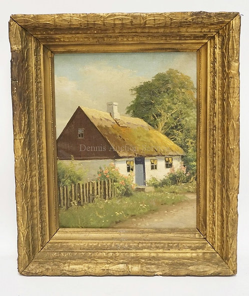 OIL PAINTING ON CANVAS OF A COTTAGE BY A DIRT ROAD WITH TREES AND FLOWERS. SIGNE