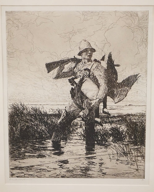 FRANK WESTON BENSON *MARSH GUNNER* ETCHING. EDITION 91/150. PENCIL SIGNED AND NU