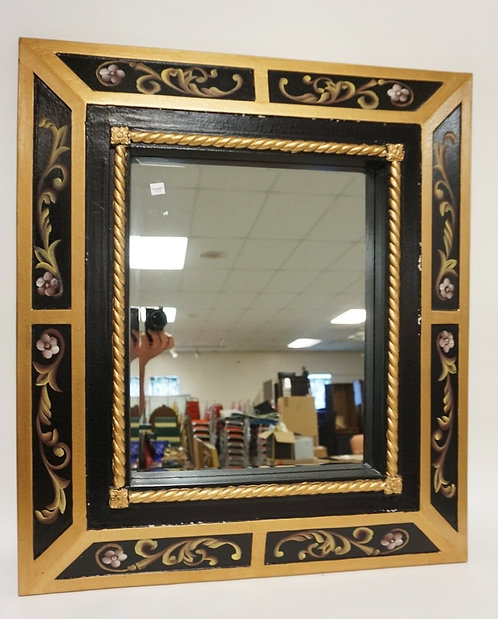 MIRROR IN PAINT DECORATED FRAME. OVERALL DIMENSIONS 28 1/4 IN X 32 1/4 IN