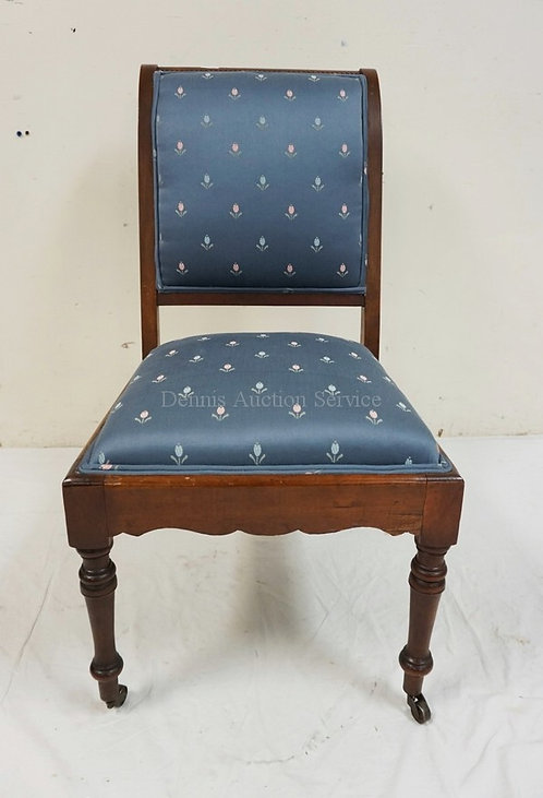 WALNUT VICTORIAN SIDE CHAIR WITH HANDSOME BLUE UPHOLSTERY WITH FLORAL SPRIGS.