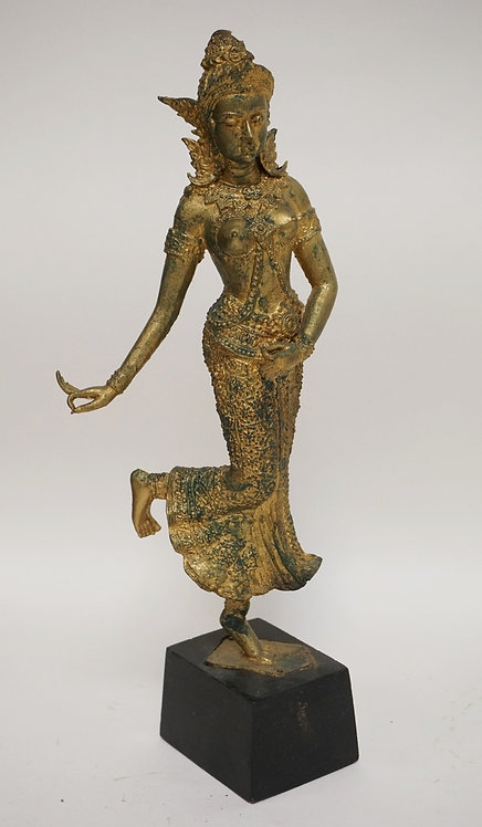 ASIAN FIGURE OF A WOMAN. GILT FINISH. 14 1/4 INCHES HIGH.