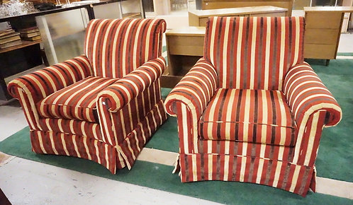 PAIR OF PEARSON STRIPE UPHLSTERED SWIVEL CHAIRS. 36 INCHES HIGH. 38 INCHES WIDE.