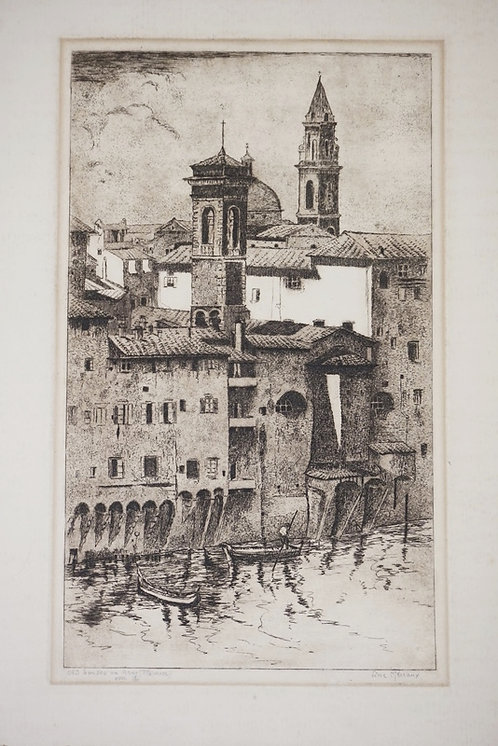 LINE MEREAUX ETCHING OF BUILDINGS IN FLORENCE ITALY. PENCIL SIGNED. 10 1/8 X 16