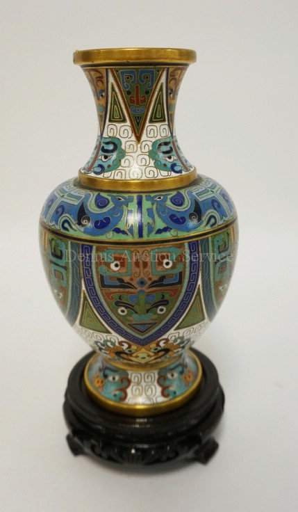 CLOISONNE VASE WITH AN INTRICATE GEOMETRIC PATTERN ANS STYLIZED ANIMALS. COMES W