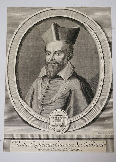 GERARD EDELINCK (1640-1707) NICOLAS COEFFETEAU. ENGRAVING, 247 X 181 MM. WURZBAC