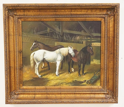 CONTEMPORARY OIL PAINTING ON CANVAS OF HORSES IN A STABLE. 33 3/4 X 29 3/4 INCH