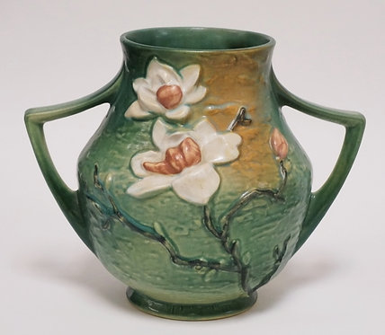 ROSEVILLE POTTERY MAGNOLIA PATTERN VASE. #91-8. 8 1/4 INCHES HIGH.
