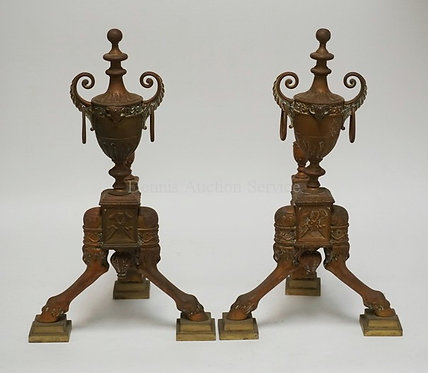 PAIR OF ANTIQUE ENGLISH BRONZE ANDIRONS WITH A REGISTRY MARK OF 1882. IN THE FOR