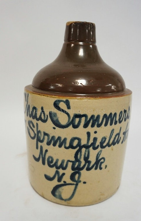 CHAS. SOMMERS, SPRINGFIELD AVE NEWARK NJ BLUE SCRIPT DECORATED STONEWARE TWO TON
