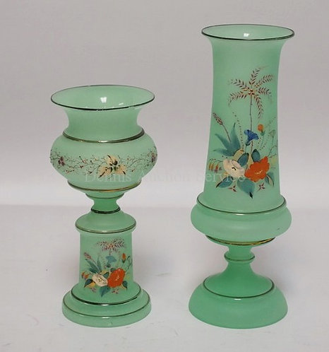 PAIR OF BRISTOL GLASS VASES WITH HAND PAINTED DECORATIONS OF FLOWERS. TALLEST IS