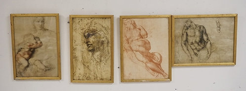 GROUP OF 4 STUDY PRINTS OF DRAWING STUDIES INCLUDING ONE WITH A BRITISH MUSEUM M