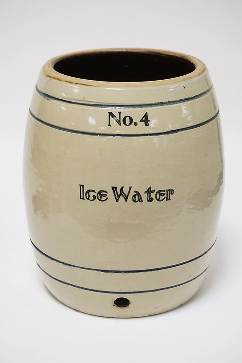 FULPER POTTERY STONEWARE ICE WATER COOLER. BLUE BANDS. NO.4. NO LID OR SPOUT. 12