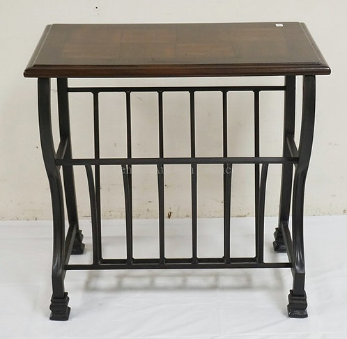 SIDE TABLE WITH A METAL BASE HAVING A MAGAZINE RACK. WOODEN TOP WITH INSET SQUAR