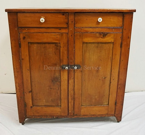 ANTIQUE PINE JELLY CABINET WITH 2 DRAWERS OVER 2 DOORS. 41 1/2 INCHES HIGH. 38 I