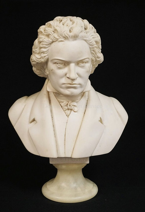 1017_A. GIAMMELLI SCULPTURE OF THE BUST OF BEETHOVEN. 12 1/4 INCHES HIGH.