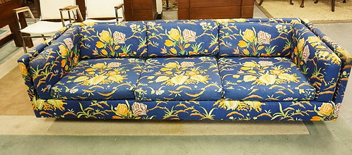1249_HARVEY PROBBER MCM SOFA. FLORAL UPHOLSTERY HAS LOSSES.