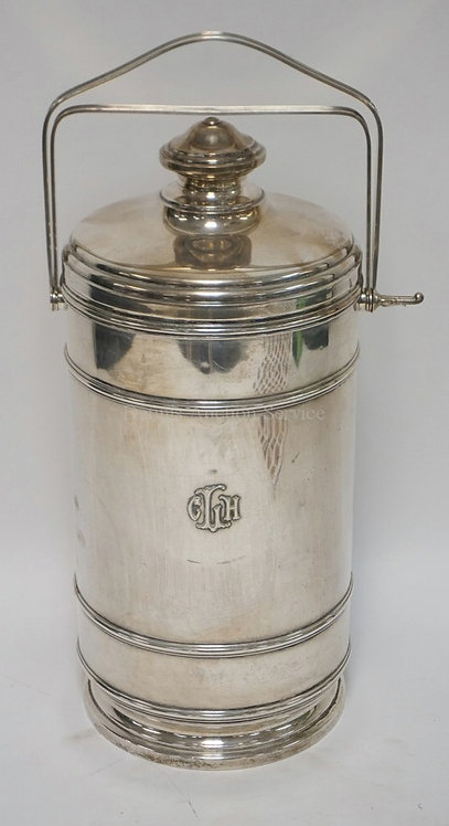 STERLING SILVER ICE BUCKET MEASURING 16 INCHES HIGH. GLASS LINED INTERIOR. RAISE