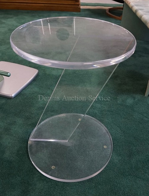SMALL LUCITE TABLE MEASURING. 21 1/2 INCHES HIGH.