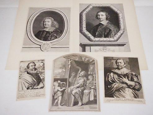 LOT OF 5 ANTIQUE PORTRAIT ETCHINGS. INCLUDES JACQUES CHEREAU, PIETER DE JODE THE
