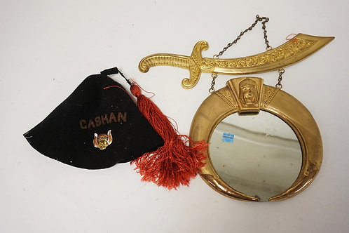 ART METAL WORKS, NEWARK NJ VINTAGE LODGE MIRROR AND CAP WITH PIN. MIRROR AND MOU