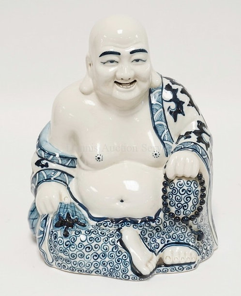 PORCELAIN BUDDHA MEASURING 12 INCHES HIGH.